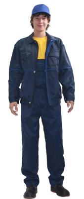 Костюм (полукомбинезон+куртка) темно-синий с васильковым кантом