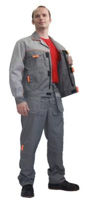 Костюм (брюки + куртка) серый + светло-серый + оранжевый