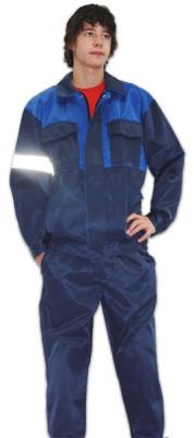 Костюм (полукомбинезон + куртка) тёмно-синий с васильковой кокеткой