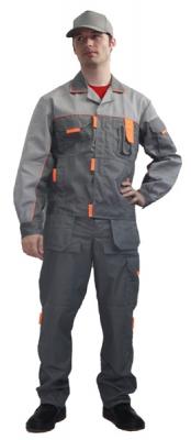 Костюм (полукомбинезон + куртка) серый + светло-серый + оранжевый